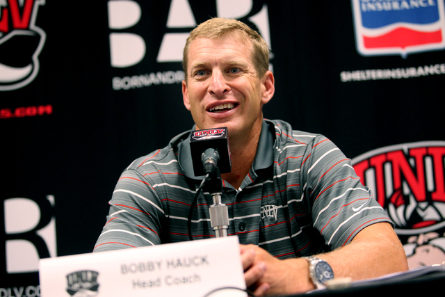 UNLV head football coach Bobby Hauck speaks at a press conference at UNLV Monday, Aug. 26, 2013 in advance of Thursday's opener at Minnesota. (Jessica Ebelhar/Las Vegas Review-Journal)