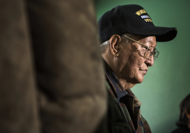 Filipino-American World War II veteran Anastacio Sumajit waits for the Committee on Armed Services hearing live streaming to begin on Tuesday, June 24, 2014. Congressman Joe Heck conducted the hea ...