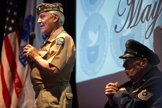 Gaetano R. Benza, 89, talks to those in attendance during a ceremony where he was awarded the Legion of Honor for his service in World War II at the Silverton on Friday, May 30, 2014. (Samantha Cl ...