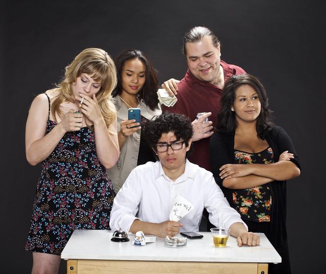 "Meagan Moser, Kandice Upshur, Leonardo Dominguez, Kihapiilani Akui and Alexsis Neuman make up the cast of ""Ex-Dating,"" now being presented at the Vegas Fringe Festival. (Courtesy Photo)"