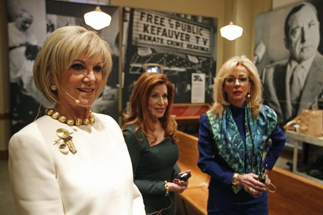 From left, Elaine Wynn, Patricia Becker and Jan Jones Blackhurst wait to speak at the Women in Gaming event at the Mob Museum in Las Vegas Wednesday, Feb. 19, 2014. (John Locher/Las Vegas Review-J ...