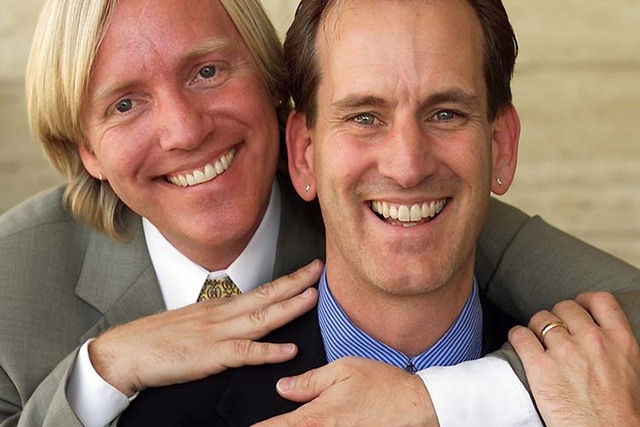 Ted Schmidt, left, and his partner David Regnaud share a moment of togetherness during a break from their jobs at Neiman Marcus at the Fashion Show Mall Tuesday, June 19, 2001. Census figures to b ...