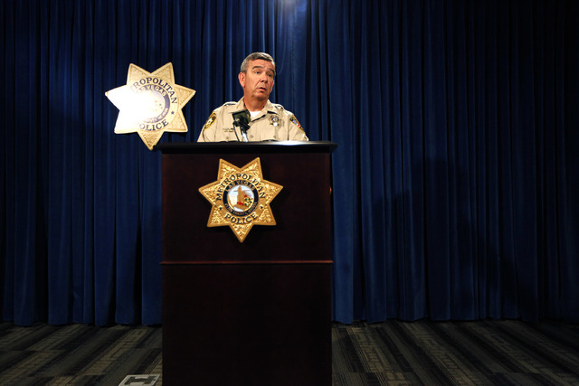 Clark County Sheriff Doug Gillespie briefs the media on Monday, June 23, 2014 at Las Vegas Metropolitan Police headquarters on the officer involved shooting that occurred on June 8, 2014 in an eas ...