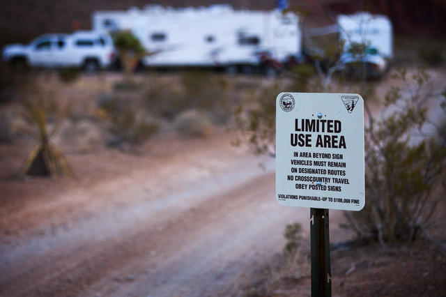 Campers set up camp in Gold Butte area on Thursday, May 22, 2014. The Gold Butte Region, administered by the BLM and the U.S. National Park Service, is located about 2 1/2 hours east of Las Vegas. ...