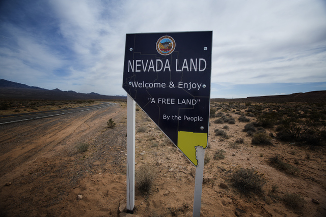 A make-shift sign in the Gold Butte area near the Cliven Bundy ranch is seen Thursday, May 22, 2014. The Gold Butte Region, administered by the BLM and the U.S. National Park Service, is located a ...