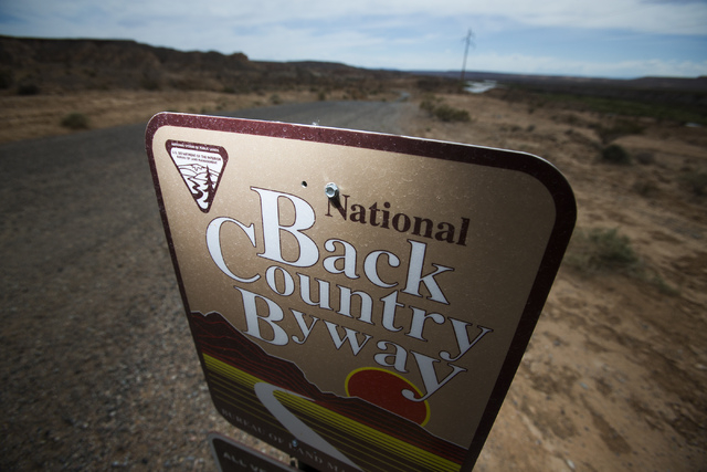 A sign posted in the Gold Butte area as seen Thursday, May 22, 2014. The Gold Butte Region, administered by the BLM and the U.S. National Park Service, is located about 2-1/2 hours east of Las Veg ...