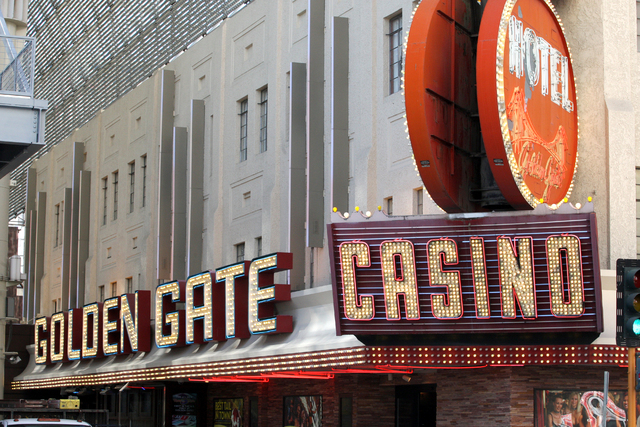 Golden Gate Hotel and Casino on Fremont Street in downtown Las Vegas. Tuesday, May 27, 2014. (Michael Quine/Las Vegas Review-Journal)