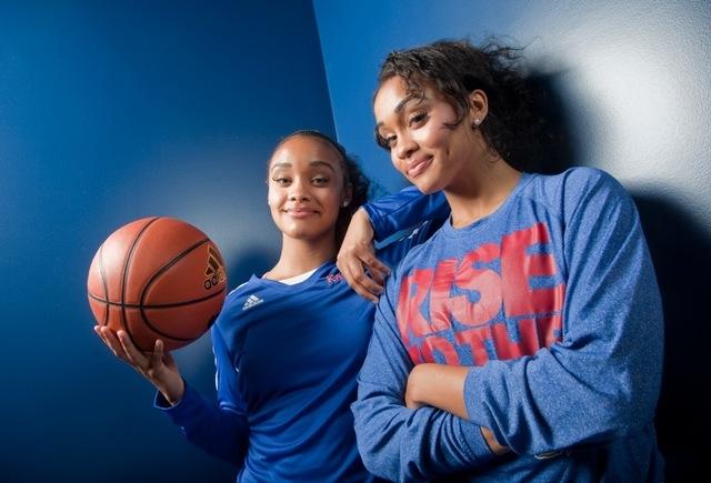 Twin sisters Dakota, left, and Dylan Gonzalez, freshmen members of the 2013-14 University of Kansas women's basketball team. (Mike Yoder/Lawrence Journal-World)