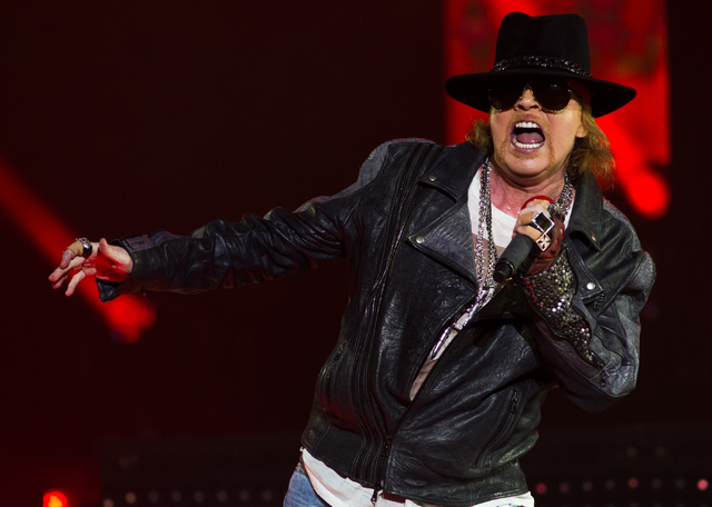 Guns N' Roses is doing well in its second resident at The Joint at the Hard Rock Hotel. Front man Axl Rose is shown during a November performance at The Joint. (Chase Stevens/Las Vegas Review-Jo ...