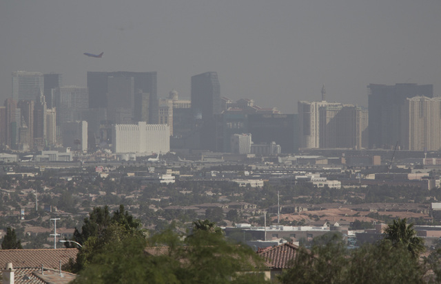 A view from Seven Hills south of Las Vegas shows haze covering the Las Vegas Strip on Wednesday, June 11, 2014. (Jeff Scheid/Las Vegas Review-Journal)