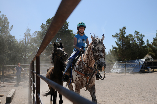Robin Warren, 13, rides Chief, a 20-year-old appaloosa horse as she walks her rescued 2-year-old grulla horse Rocky along for exercise at a private ranch in Las Vegas Tuesday, June 24, 2014. Warre ...