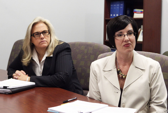 Paula Hammack, assistant director of Clark County Department of Family Services, left, and Lisa Ruiz-Lee, director of Family Services, are accused of failing to establish appropriate procedures fo ...