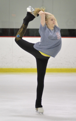 Skater Michelle Rudski practices at the Las Vegas Ice Center at 9295 W. Flamingo Road in Las Vegas on Thursday, May 29, 2014. The teenager suffered severe burns last summer as a result of becoming ...