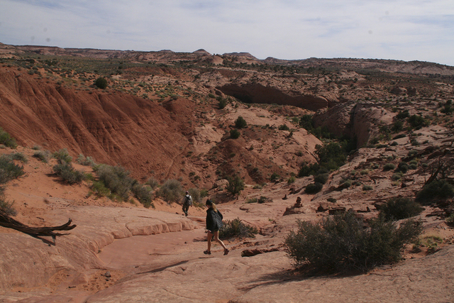 Hikers descend from the Dry Fork Overlook towards Peek-a-boo and Spooky Gulches in Grand Staircase-Escalante National Monument, Utah. (DEBORAH WALL/SPECIAL TO VIEW)