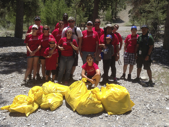 On June 7, 2014, Wells Fargo team members worked with Go Mt. Charleston to clean up the area around the Old Ski Tow and Mary Jane Falls in honor of National Trails Day. (SPECIAL TO VIEW)