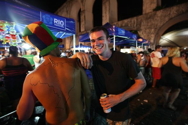 Tiernan Turner gets map directions in Brazil.