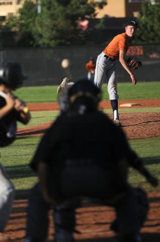 Legacy's Dakota Hanshew (1) pitches against Durango Post 76 during the opening week of the American Legion baseball season at Legacy High School in North Las Vegas on Saturday, May 31, 2014. (Erik ...
