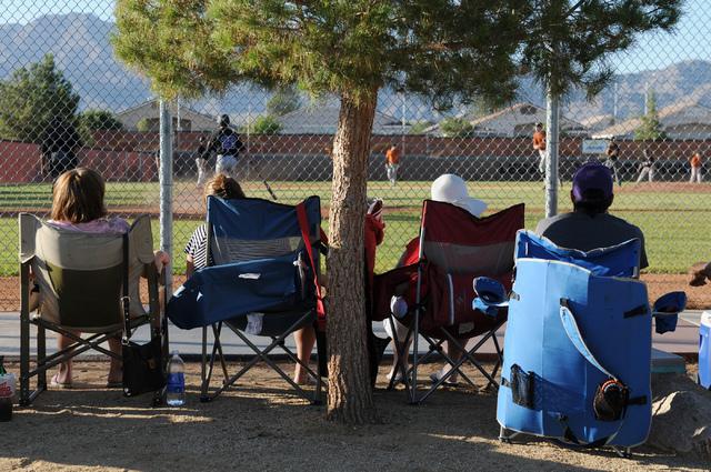 Fans watch Durango Post 76 play against Legacy during the opening week of the American Legion baseball season at Legacy High School in North Las Vegas on Saturday, May 31, 2014. (Erik Verduzco/Las ...
