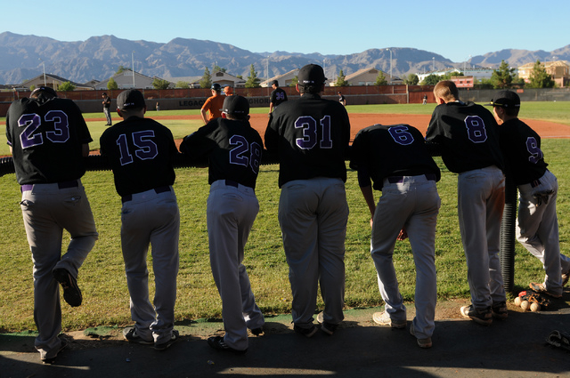 Durango Post 76 players are seen at their dugout during their game against Legacy at Legacy High School in North Las Vegas on Saturday, May 31, 2014. (Erik Verduzco/Las Vegas Review-Journal)