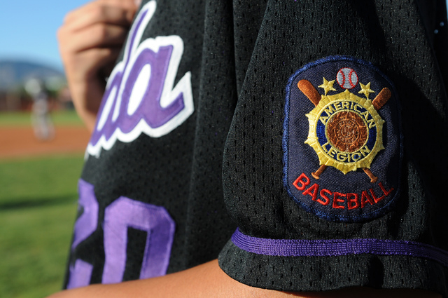 An American Legion baseball patch is seen on the jersey of Durango Post 76 Anthony Ramirez (20) during their game against Legacy at Legacy High School in North Las Vegas on Saturday, May 31, 2014. ...