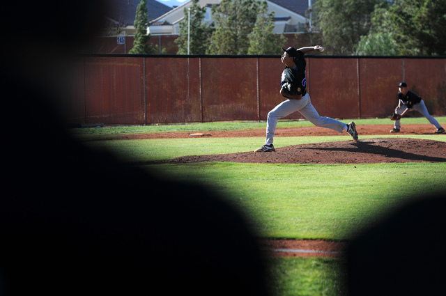 Durango Post 76 Jordan Knapp (22) pitches during their game against Legacy during the opening week of the American Legion baseball season at Legacy High School in North Las Vegas on Saturday, May  ...