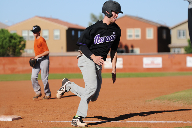 Durango Post 76 Scott Martinez (10) rounds third base for a run during their game against Legacy during the opening week of the American Legion baseball season at Legacy High School in North Las V ...