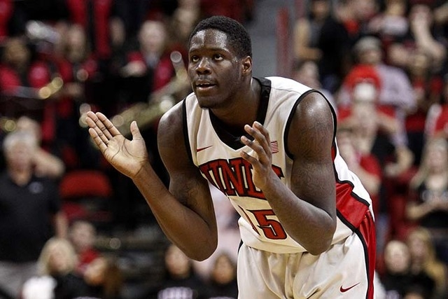Anthony Bennett of UNLV cheers on his team during a game at the Thomas & Mack Center in Las Vegas Nov. 24, 2012. Bennett was the No. 1 overall pick of the 2013 NBA Draft, taken by the Cleveland Ca ...