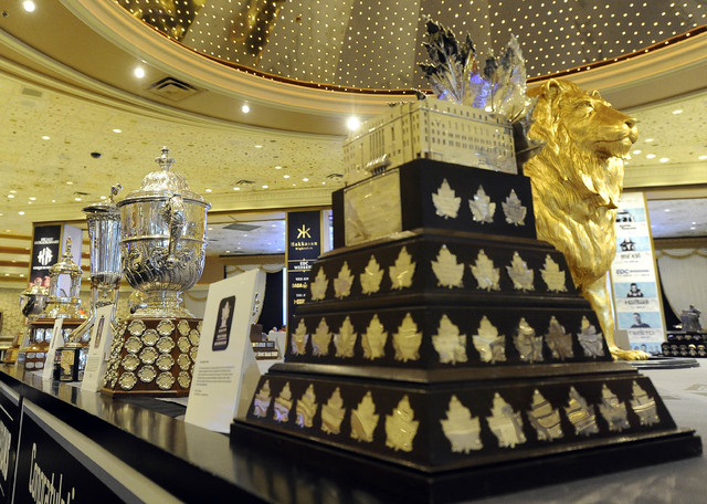 The NHL trophies while on display in the lobby of the MGM Grand Hotel and Casino in Las Vegas Saturday, June 21, 2014. (Josh Holmberg/Las Vegas Review Journal)