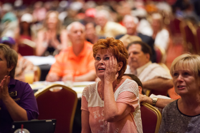 Theresa McQuiggan reacts as California Chrome falls behind in the Belmont Stakes horse race in Elmont, N.Y., during a viewing party at South Point hotel-casino in Las Vegas on Saturday, June 7, 20 ...
