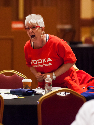 Donna Lattanzio reacts as California Chrome falls behind in the Belmont Stakes horse race in Elmont, N.Y., during a viewing party at South Point hotel-casino in Las Vegas on Saturday, June 7, 2014 ...