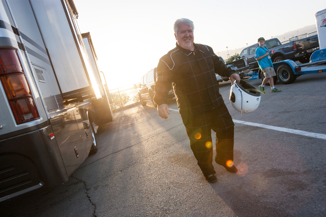 Chuck Trickle is seen after suiting up before driving the NASCAR Super Late Model which his son, Chris Trickle, drove, at the Bullring at Las Vegas Motor Speedway in Las Vegas on Friday, June 13,  ...
