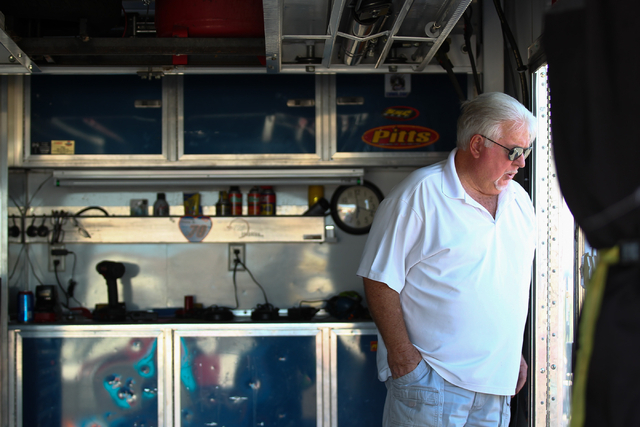 Chuck Trickle is seen before driving the NASCAR Super Late Model which his son, Chris Trickle, drove, at the Bullring at Las Vegas Motor Speedway in Las Vegas on Friday, June 13, 2014. Trickle pra ...