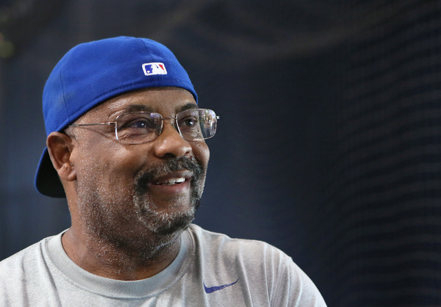 Bill Madlock, four-time Major League Baseball batting champion, speaks in interview during a brief break in instructing a private lesson at The Dugout indoor batting cages Thursday, June 19, 2014, ...
