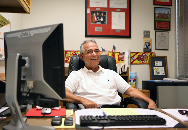 Former longtme UNLV men's soccer coach Barry Barto, 64, is shown in his office Friday. Barto was captain of the U.S. national team during his stint from 1972 to 1975, long before the team began  ...