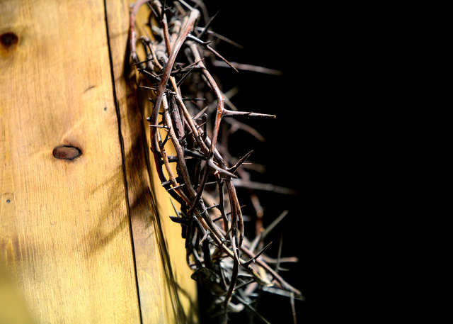 A crown of thorns hangs from the cross behind the altar at Kingdom Ministries in Las Vegas on Sunday, June 1, 2014. (Justin Yurkanin/Las Vegas Review-Journal)