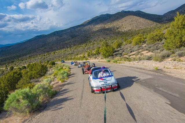 After a successful second run the cars are towed back to the top of the hill. (Courtesy Christopher Crews)