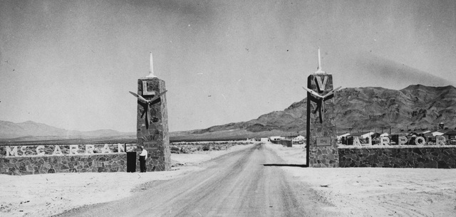 Undated early photo of the McCarran Field main gate. (Courtesy Nellis AFB)