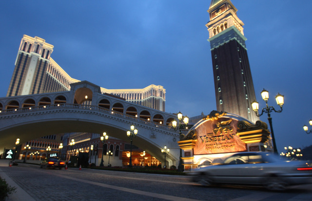 The Venetian-Macau opened Aug. 28, 2007. There are signs the Macau market will suffer its first gaming revenue decrease since June 2010. (Jeff Scheid/Las Vegas Review-Journal file)