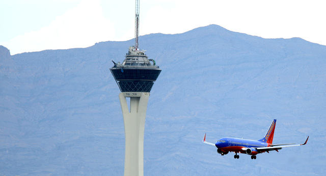 Despite increasing the number of flights and seats flying into and out of McCarran International Airport, Southwest Airlines saw a drop in traffic. (Review-Journal File)