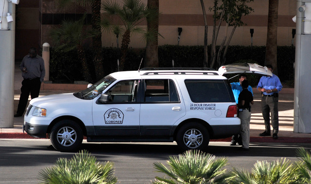 A Clark County Coroner's vehicle is parked in front of the MGM Grand Conference Center on Tuesday, June 10, 2014. An MGM employee died after an accident that resulted in a fall from the third floo ...