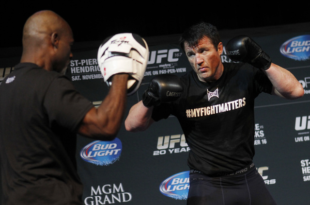 Fighter Chael Sonnen, 37, finishes his career 28-14-1, including 7-7 in the UFC. (Jason Bean /Las Vegas Review-Journal File). (Jason Bean /Las Vegas Review-Journal File)