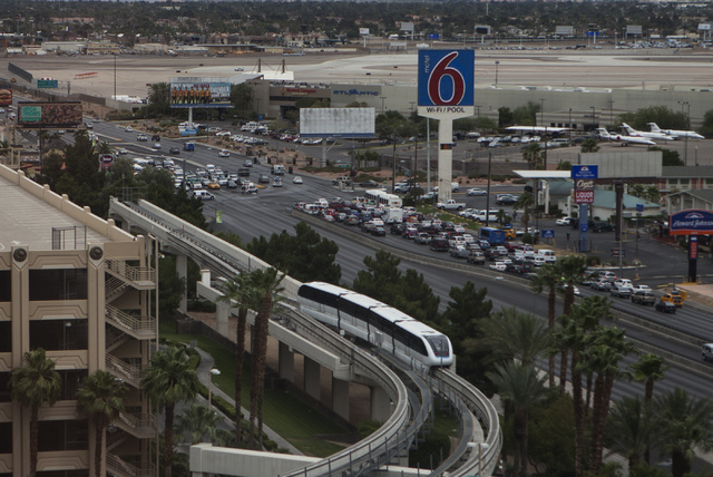 The Las Vegas Monorail as seen Wednesday, May 29, 2014 from the 15th floor of MGM Grand hotel-casino. The 3.9-mile elevated transit system opened in 2004.  (Jeff Scheid/Las Vegas Review-Journal)
