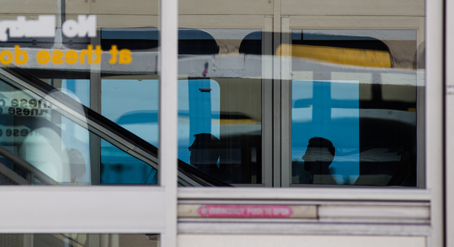 Passengers are seen onboard at the Harrah's/The Quad stop of the Las Vegas Monorail in Las Vegas on Monday, May 19, 2014. (Chase Stevens/Las Vegas Review-Journal)