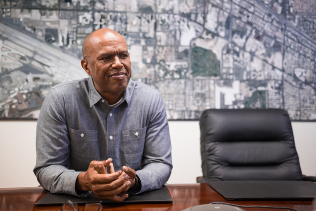 Las Vegas Monorail Company CEO Curtis Myles is seen during an interview with the Review-Journal at the company's offices at 3900 Paradise Road in Las Vegas on Thursday, May 22, 2014. (Chase Steven ...