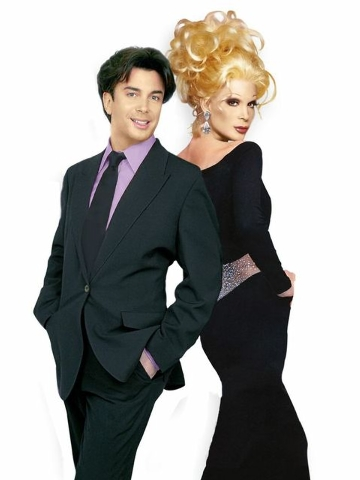 """Frank Marino, star and producer of """"Divas Las Vegas"""" at The Quad, seems to back up to himself dressed in drag in this Photoshop picture. (Special to View)"""