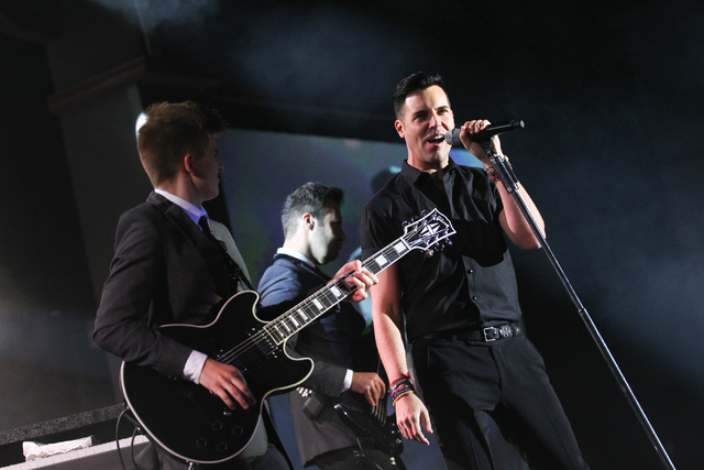 Frankie Moreno sings during his 500th performance at the Stratosphere on Thursday, June 12, 2014. (Chase Stevens/Las Vegas Review-Journal)