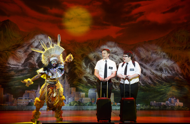"David Larsen stars as Elder Kevin Price and Cody Jamison Strand as Elder Arnold Cunningham in""The Book of Mormon."""