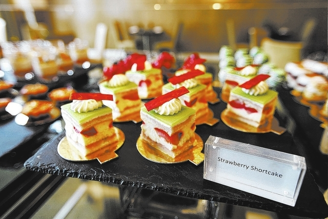 Pastries are lined up on a display at the Mozen Bistro inside the Mandarin Oriental in Las Vegas on Sunday May 4, 2014. (Justin Yurkanin/Las Vegas Review-Journal)