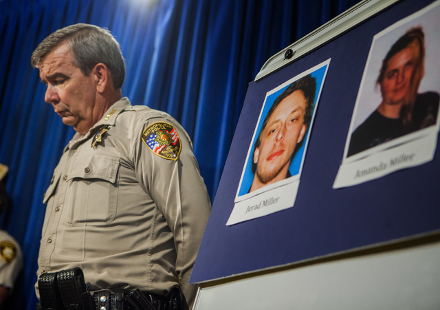 Clark County Sheriff Doug Gillespie during a press conference at Metro Police Department on Monday, June , 2014. To the right are photos of the shooting suspects, Jerad and Amanda Miller. Officers ...