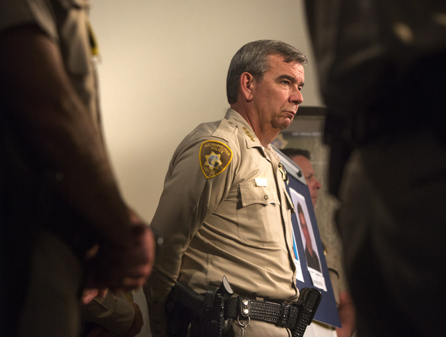 Clark County Sheriff Doug Gillepie during a press conference about the deaths of officers at Metro Police Department on Monday, June , 2014.  Officers Alyn Beck, 41, and Igor Soldo, 31, were eatin ...